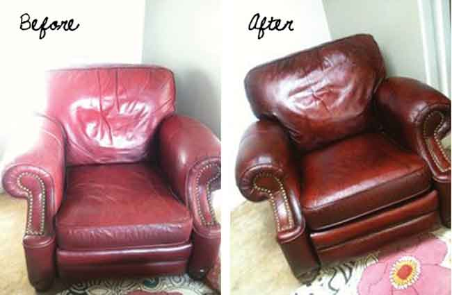 Leather conditioning and re-colouring